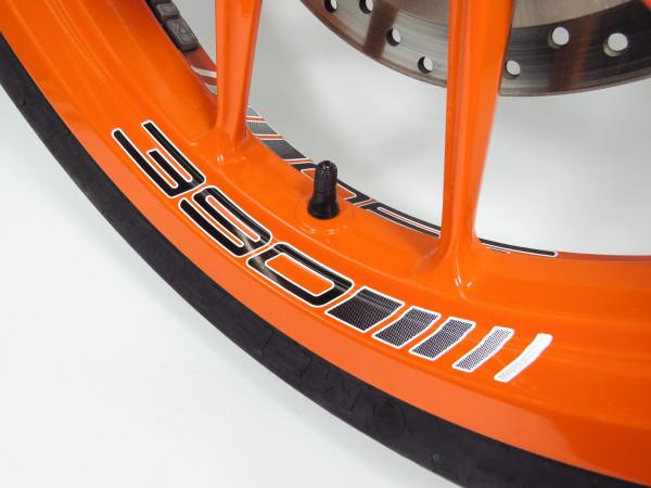 Felgenbett Aufkleber 390 Black 4er Set passend für KTM 390 Duke