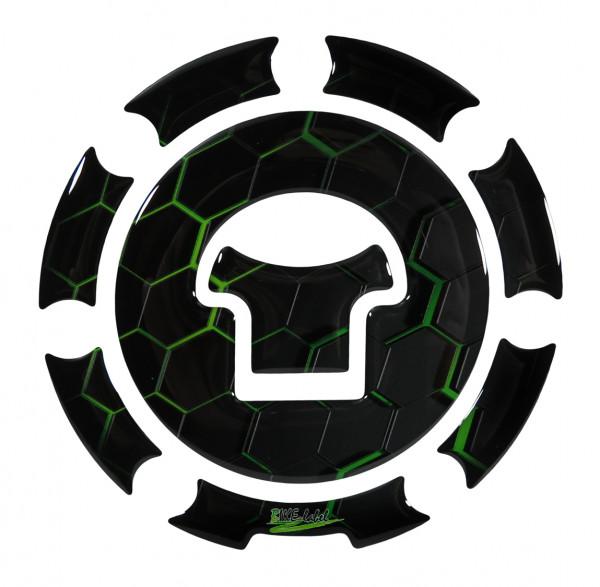 Tankdeckel Pad Waben Grün Green Motorrad Schutz universell kompatibel für Honda