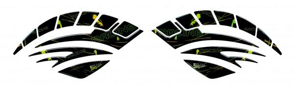 BIKE-label 810004 Seitentank Pad Motorrad Aufkleber Racing Black Gelb