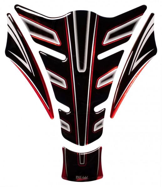 Lackschutz Aufkleber für Motorrad Tanks - Red Stripe Black and White - Form 15