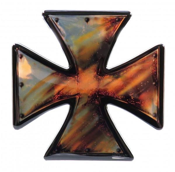 BIKE-label 910050 Aufkleber 3D Iron Cross rusty Eisernes Kreuz Chrom