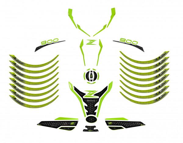 Motorrad Aufkleber Set Tankschutz Grün kompatibel für Kawasaki Z900