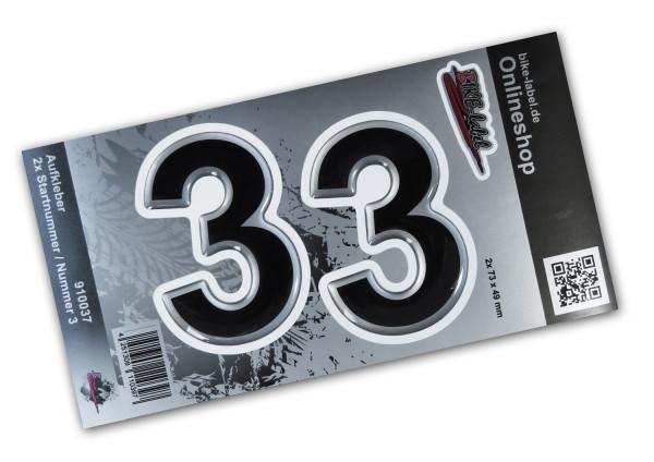 BIKE-label 910037 Startnummer Aufkleber Sticker Set silber 2x Nummer 3