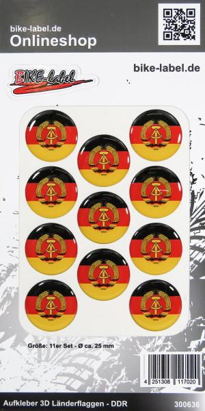 Aufkleber 3D Länder-Flaggen DDR 11 Stck. Durchmesser ca. 25 mm