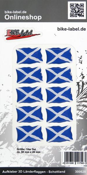 Aufkleber 3D Länder-Flaggen Schottland Scotland 10 Stck. je 30 x 20 mm