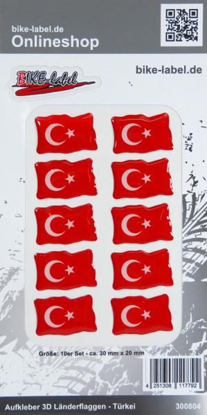Aufkleber 3D Länder-Flaggen Türkei Turkey 10 Stck. je 30 x 20 mm