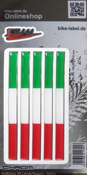Aufkleber 3D Länder-Flaggen - Italien Italy 5 Stck. je 120 x 10 mm mit Chromrand