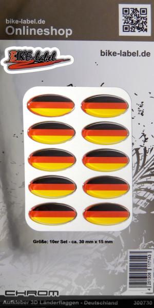 Aufkleber 3D Länder-Flaggen Deutschland mit Chromrand 10 Stck. je 30 x 15 mm
