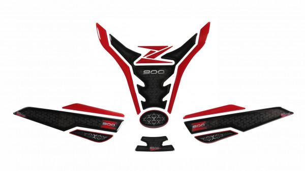 Tankpad Set Tankschutz Rot Schwarz kompatibel für Kawasaki Z900