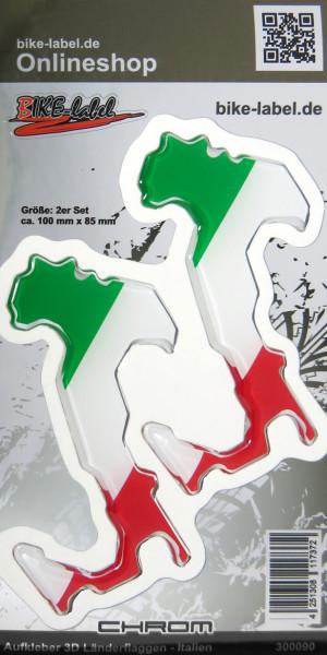 Aufkleber 3D Länder-Flaggen - Italien Italy 2 Stck. je 100 x 85 mm Chromrand
