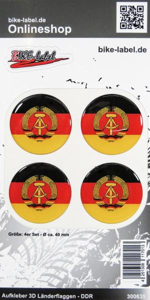 Aufkleber 3D Länder-Flaggen DDR 4 Stck. Durchmesser ca. 40 mm