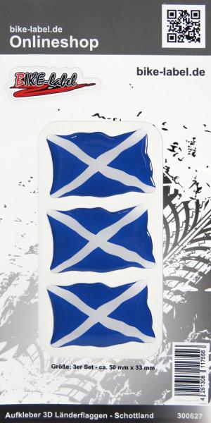 Aufkleber 3D Länder-Flaggen Schottland Scotland 3 Stck. je 50 x 33 mm