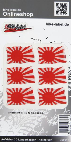 Aufkleber 3D Länder-Flaggen Rising Sun 6 Stck. je 40 x 26 mm