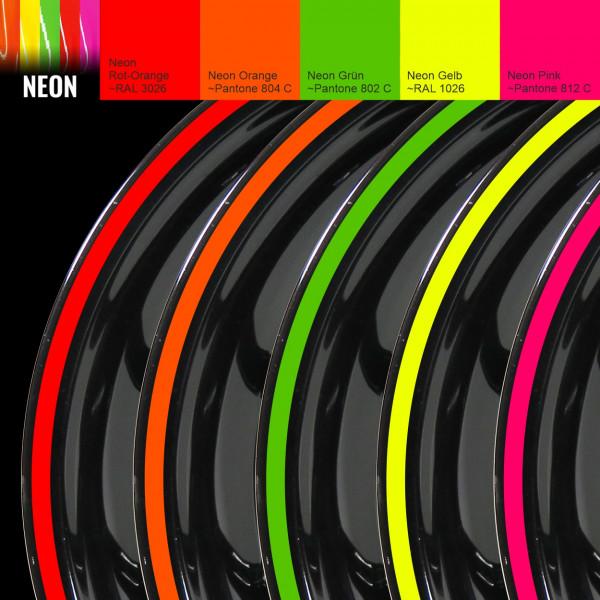 Felgenrand Aufkleber-Set für 16 / 17 / 18 Zoll Auto Motorrad - Neon versch. Farben - Classic Style