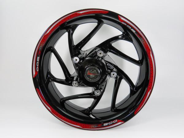 Set Felgenrand Aufkleber Rot Schwarz Streifen kompatibel für Kawasaki Z900
