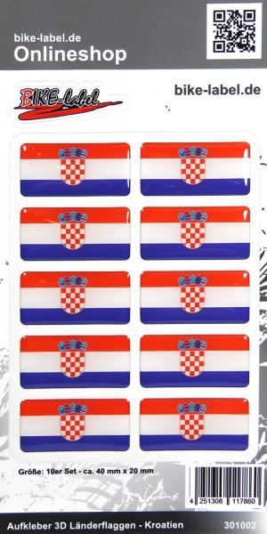 Aufkleber 3D Länder-Flaggen Kroatien Croatia 10 Stck. je 40 x 20 mm