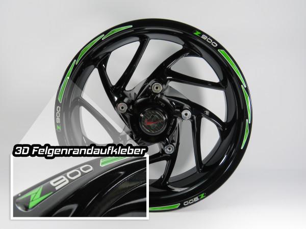 Felgenrand 3D Felgenaufkleber Dekor Grün Green kompatibel für Kawasaki Z900