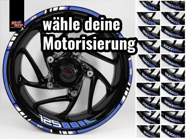 BIKE-label Felgenrand und Felgenbett Aufkleber Set für Motorrad Auto Felgen 16 17 18 Zoll blau