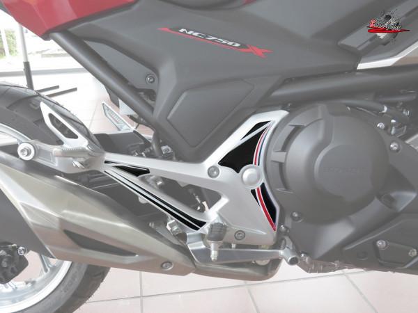 BIKE-label 550062 Deko Schutz-Aufkleber Fußraste Carbon Stripes Red kompatibel für Honda NC 750X