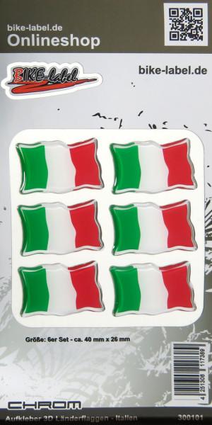 Aufkleber 3D Länder-Flaggen - Italien Italy 6 Stck. je 40 x 26 mm mit Chromrand