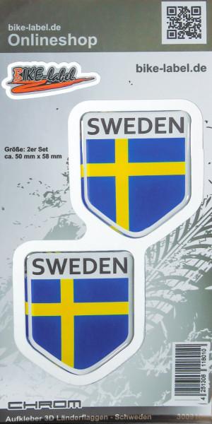 Aufkleber 3D Länder-Flaggen Schweden mit Chromrand 2 Stck. je 50 x 58 mm