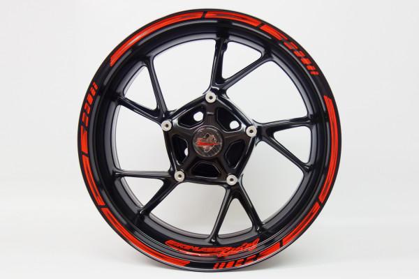 BIKE-label 760000 Felgenrand Aufkleber Neon Rot-Orange Stripes Streifen Schwarz