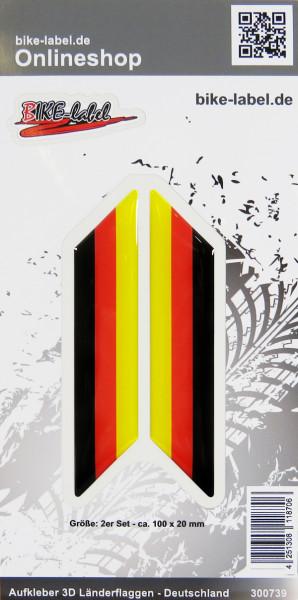 Aufkleber 3D Länder-Flaggen Deutschland 2 Stck. je 100 x 20 mm