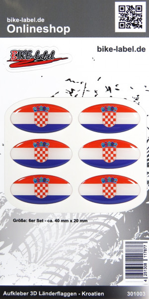 Aufkleber 3D Länder-Flaggen Kroatien Croatia 6 Stck. je 40 x 20 mm