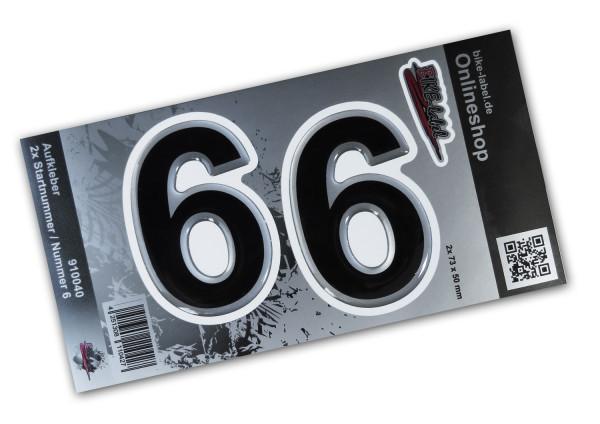 BIKE-label 910040 Startnummer Aufkleber Sticker Set silber 2x Nummer 6