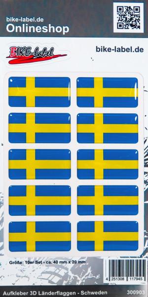 Aufkleber 3D Länder-Flaggen Schweden Sweden 10 Stck. je 40 x 20 mm