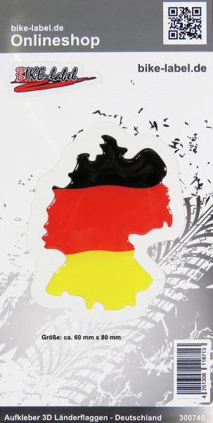 Aufkleber 3D Länder-Flaggen Deutschland 1 Stck. ca 60 x 80 mm