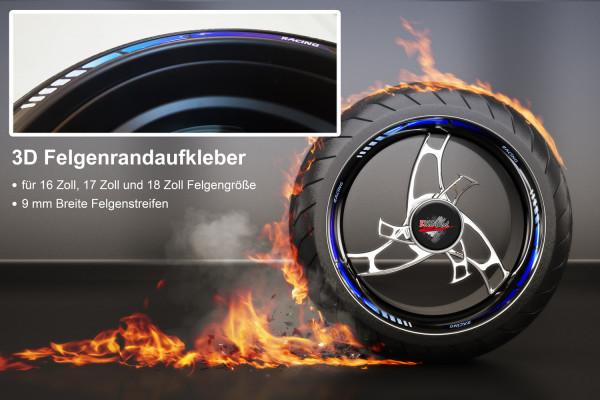 BIKE-label 700007 3D Felgenrand Aufkleber Racing Blau