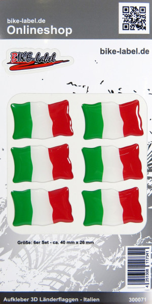 Aufkleber 3D Länder-Flaggen - Italien Italy 6 Stck. je 40 x 26 mm