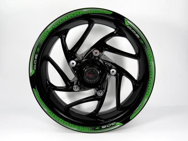 Set Felgenrand Aufkleber Grün Schwarz Streifen kompatibel für Kawasaki Z900