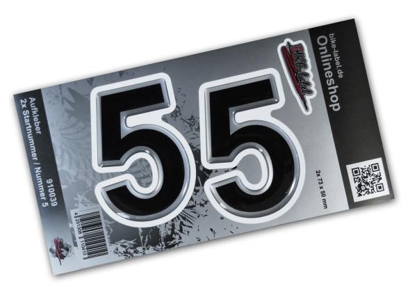 BIKE-label 910039 Startnummer Aufkleber Sticker Set silber 2x Nummer 5