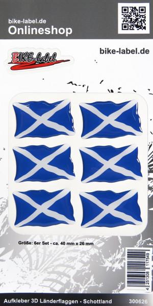 Aufkleber 3D Länder-Flaggen Schottland Scotland 6 Stck. je 40 x 26 mm