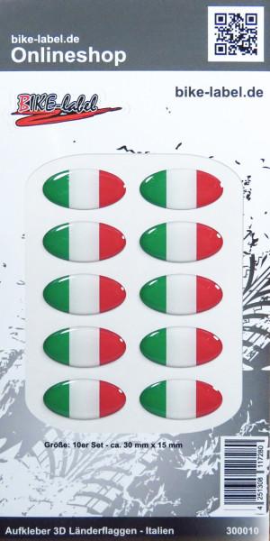 Aufkleber 3D Länder-Flaggen - Italien Italy 10 Stck. je 30 x 15 mm