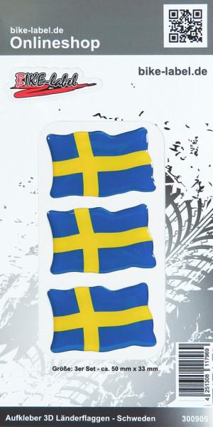 Aufkleber 3D Länder-Flaggen Schweden Sweden 3 Stck. je 50 x 33 mm