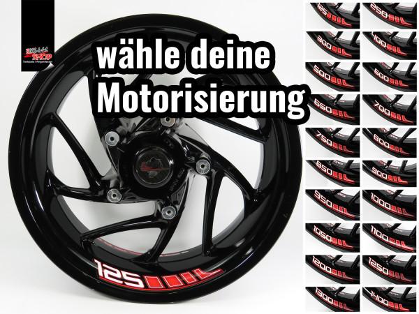 BIKE-label Felgenbett Aufkleber Set für Motorrad Auto Felgen 16 - 21 Zoll rot