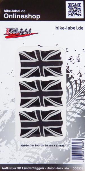 Aufkleber 3D Länder-Flaggen Union Jack - England - Schwarz/Weiß