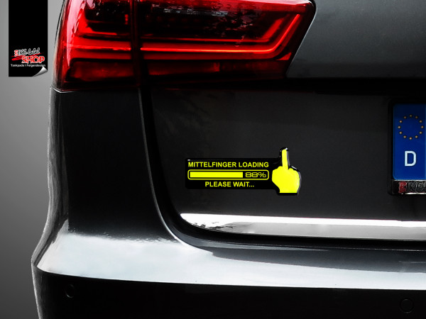 BIKE-label 910008 Aufkleber neon gelb Mittelfinger Loading Sticker fürs Auto