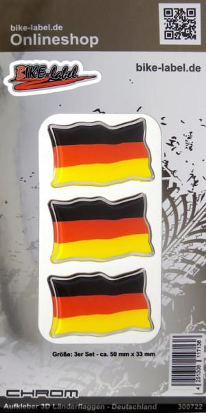 Aufkleber 3D Länder-Flaggen Deutschland mit Chromrand 3 Stck. je 50 x 33 mm