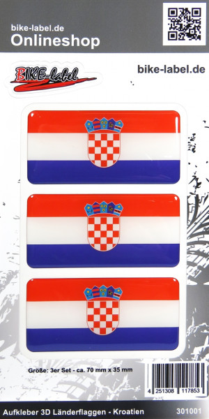 Aufkleber 3D Länder-Flaggen Kroatien Croatia 3 Stck. je 70 x 35 mm