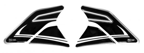Seiten-Tankpad Lackschutz Aufkleber für Motorrad-Tanks Silver Stripe Black & White - Form 6