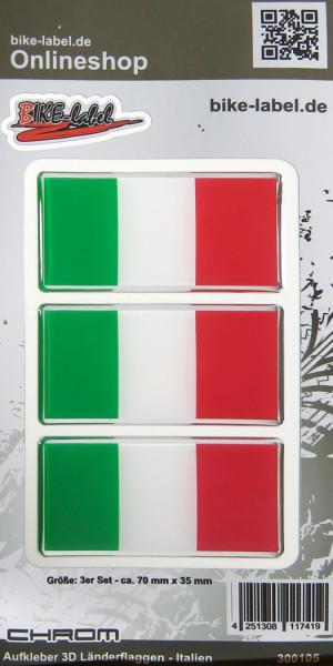 Aufkleber 3D Länder-Flaggen - Italien Italy 3 Stck. je 70 x 35 mm mit Chromrand