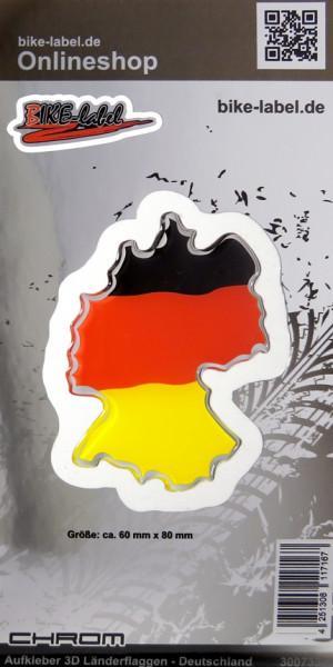 Aufkleber 3D Länder-Flaggen Deutschland mit Chromrand 60 x 80 mm