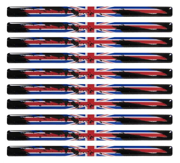 Union Jack 3D Aufkleber Flaggen 10 Stück je 150 x 10 mm Sticker für Auto Kfz Motorrad