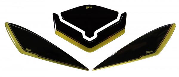 BIKE-label 550081 Deko Schutz-Aufkleber für Embleme Gold Schwarz kompatibel für Yamaha FZ 800