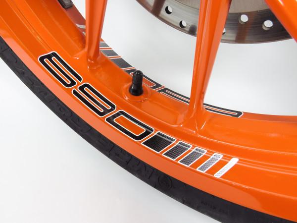 Felgenbett Aufkleber 690 Black 4er Set passend für KTM 690 Duke