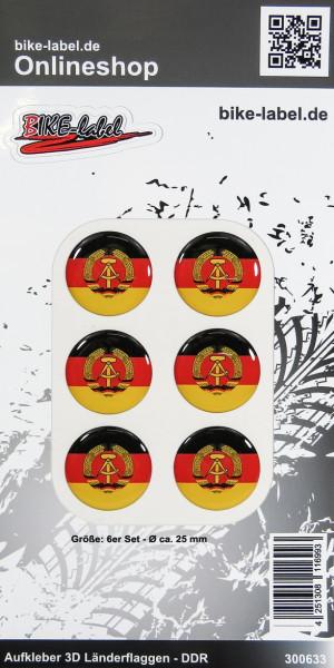 Aufkleber 3D Länder-Flaggen DDR 6 Stck. Durchmesser ca. 25 mm